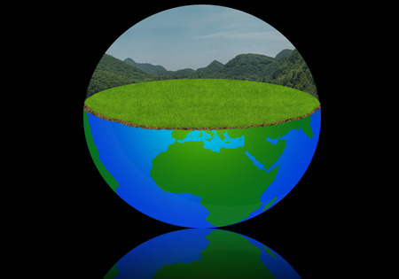 Earth globe with meadow and sky, world in blue to green