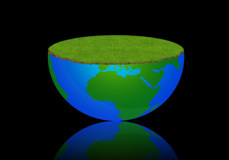 Earth globe with meadow, world in blue to green Stock Photo