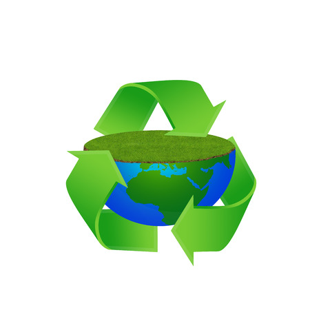 Recycling Earth globe with meadow, world in blue to green Stock Photo