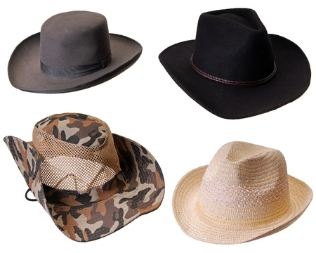 Four hats isolated on white