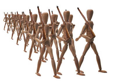 A platoon of wooden soldiers marching