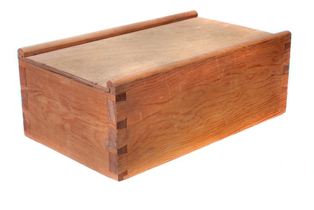 Handmade box out of pine wood Stock Photo