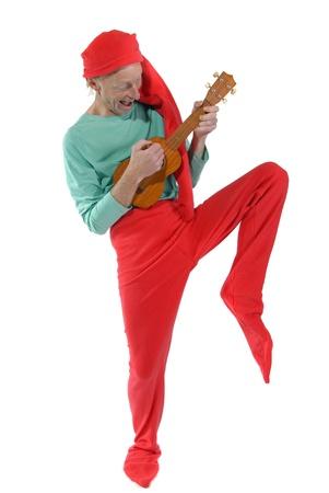 goblin: Elf playing a mandoline Stock Photo