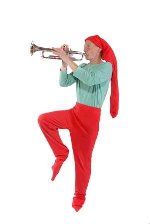 Elf playing a trumpet