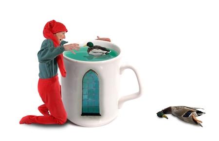 mallard duck: Elf catching ducks in a mug