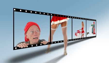 Filmstrip with elves and santa girls Stock Photo