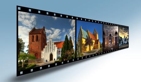 Filmstrip with Danish churches Stock Photo
