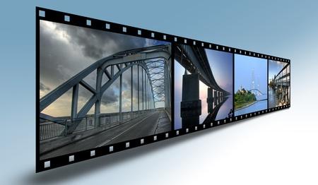 Filmstrip with bridges from Denmark