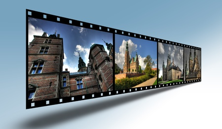 Filmstrip with Danish Castles Stock Photo
