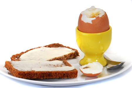 Egg, softboiled and rye bread photo