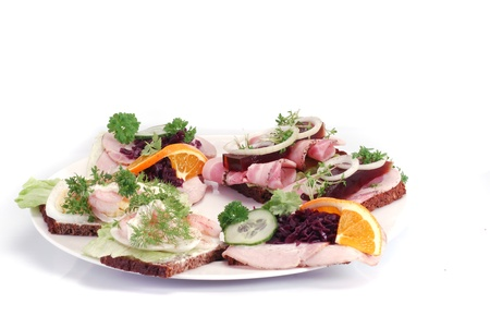Danish open sandwiches Stock Photo - 12858766