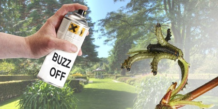 poisonous insect: Pest control with a spray can and poison Stock Photo