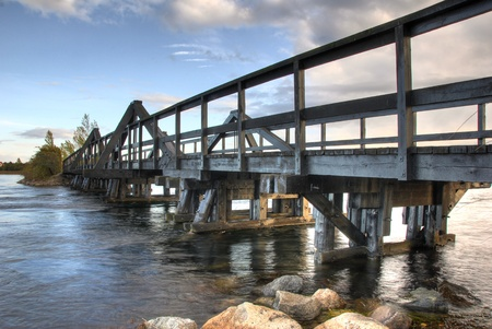 Wooden bridge to a small island in Denmark