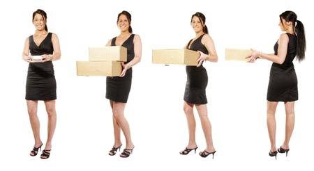 Four Women with cardboard boxes photo