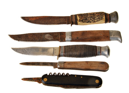 Set of old rusty knives used for cleaning fish