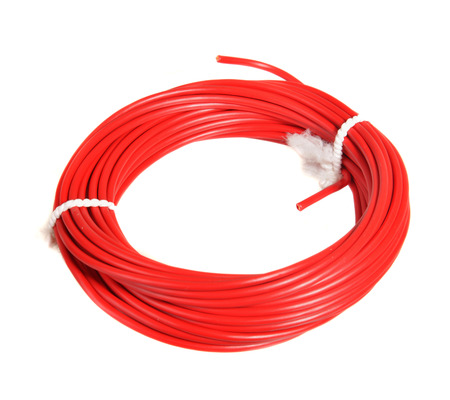 Roll of red   Plus  electrical wire for 12 applications Stock Photo