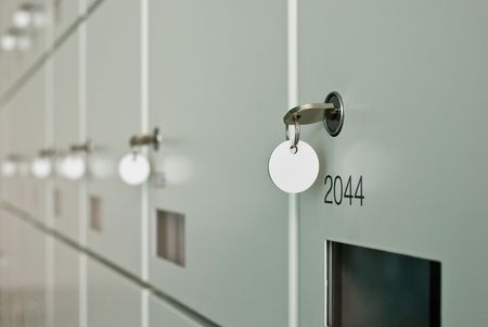 Wall of lockers. With key. Stock Photo - 3448370