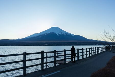 Beautiful view of the lake and Mt. Fuji. Taken at a famous lake near Mt. Fuji.