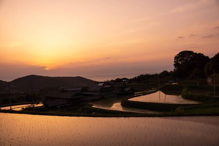 Superb View of Japan, Landscape of Rice Terraces in the Evening.