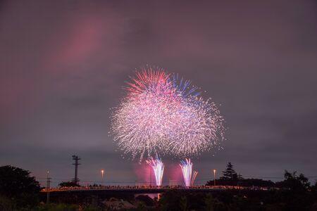 Japanese summer, beautiful fireworks festival scenery.