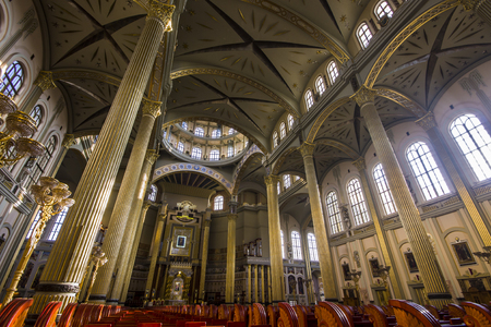 Inside the Basilica of Our Lady of Lichen, a Roman Catholic church dedicated to Our Lady of Sorrows, Queen of Poland. One of the tallest and largest churches in the world.
