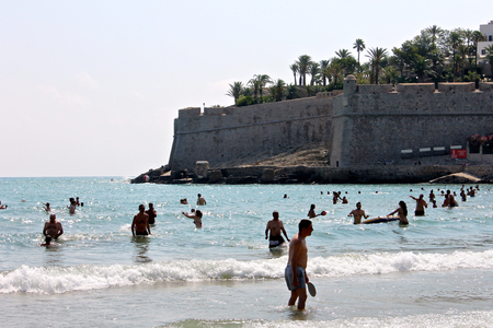 The castle and citadel of Peniscola, a town in the province of Castello, Valencian Community, Spain