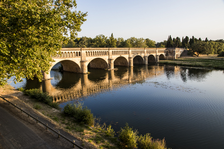 The Pont-canal de lOrb in Beziers, a canal bridge part of the Canal du Midi in Southern France. A world heritage site since 1996