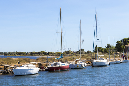 Boats in the Canal du Midi at Les Onglous. A World Heritage Site. Agde, France