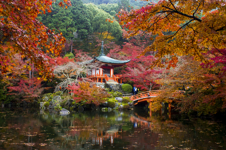 秋の醍醐寺の象徴的な表示。京都、日本。1994 年以来世界遺産