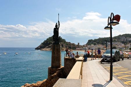 A statue of Minerva, Roman goddess of wisdom, in Tossa de Mar, Catalonia, Spain,