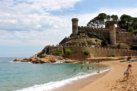 Views of the Vila Vella, a fortress in Tossa de Mar, Catalonia, Spain Stock Photo