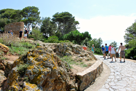 Views of the Vila Vella, a fortress in Tossa de Mar, Catalonia, Spain Editorial