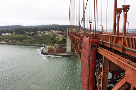 The Golden Gate Bridge, a painted red suspension bridge spanning the Golden Gate strait, the channel between San Francisco Bay and the Pacific Ocean Stock Photo