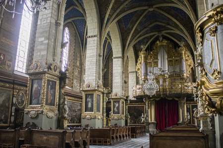 Inside the Cathedral Basilica of the Nativity of the Blessed Virgin Mary in Sandomierz, Poland. A Gothic church built in the 14th Century