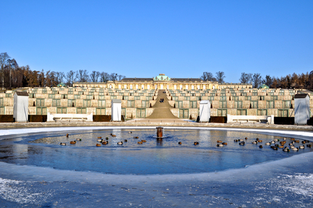 The Schloss Sanssouci, a summer palace of Frederick the Great in Potsdam, Germany, built in Rococo and Baroque styles