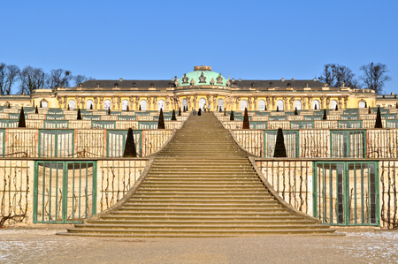 residence: The Schloss Sanssouci, a summer palace of Frederick the Great in Potsdam, Germany, built in Rococo and Baroque styles