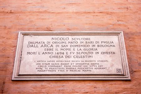 Commemorative plaque of Italian Early Renaissance sculptor Niccolo dellArca in a house in Bologna, northern Italy Editorial