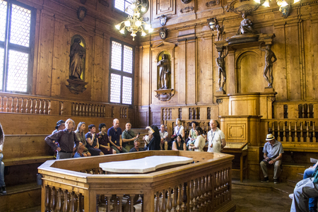 Inside the Archiginnasio of Bologna, once the main building of the University of Bologna, Italy