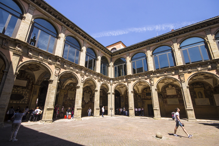 The Archiginnasio of Bologna, once the main building of the University of Bologna, Italy