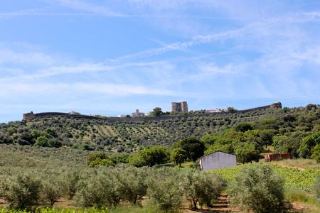 The Castle of Evoramonte, a Portuguese castle in the civil parish of Evora Monte, Estremoz, Alentejo, Portugal Stock Photo