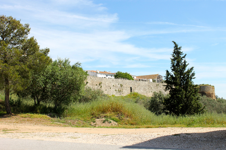 The walls and fortifications of Evora Monte, a walled town in the Alentejo region of Portugal