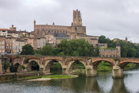 알비의 관할 도시와 강 탄의 전망. 프랑스 알비