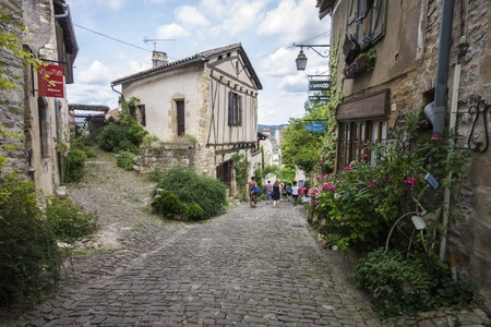 The streets and houses of Cordes-sur-Ciel, a beautiful medieval town in southern France Editorial