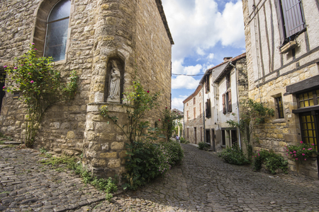 The streets and houses of Cordes-sur-Ciel, a beautiful medieval town in southern France Stock Photo