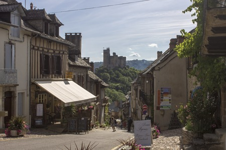 Najac, a picturesque village in the Aveyron River, Southern France. Famous for the partly ruined castle that dominates the town