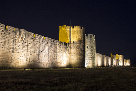 The medieval walls and towers of the city of Aigues-Mortes, Southern France Editorial