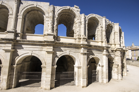 The Arles Amphitheatre (Arenes dArles in French), a two-tiered Roman amphitheatre in the southern France town of Arles. A World Heritage Site since 1981 Stock Photo