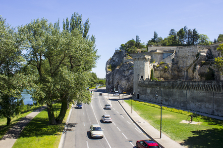 Walls and towers of the papal city of Avignon in Southern France. A World Heritage Site since 1995 Editorial