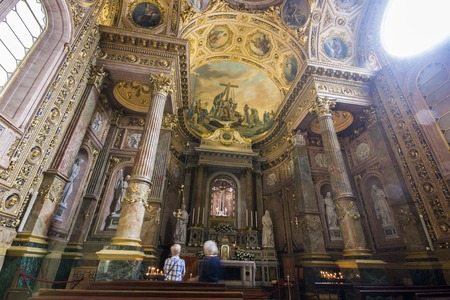 Inside Bergamo Cathedral (Duomo di Bergamo, Cattedrale di SantAlessandro). It has a Latin cross ground plan with a single nave and a Baroque decoration