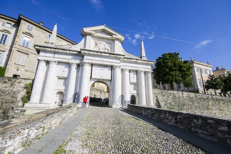 The Porta San Giacomo, perhaps the most beautiful of the gateways to the Venetian walls to the upper city of Bergamo